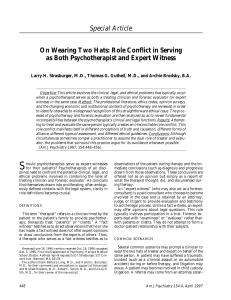 Special Article On Wearing Two Hats: Role Conflict in Serving as