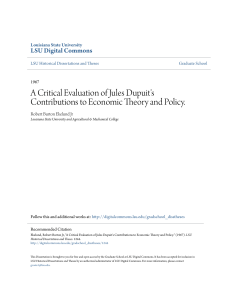 A Critical Evaluation of Jules Dupuit`s Contributions to Economic