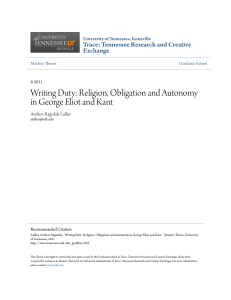 Writing Duty: Religion, Obligation and Autonomy in George Eliot and