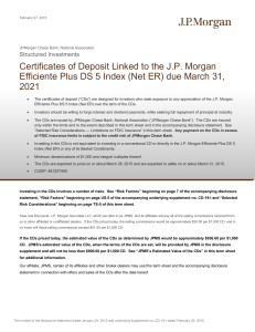 Certificates of Deposit Linked to the J.P. Morgan Efficiente Plus DS 5