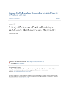 A Study of Performance Practices Pertaining to W.A. Mozart`s Flute