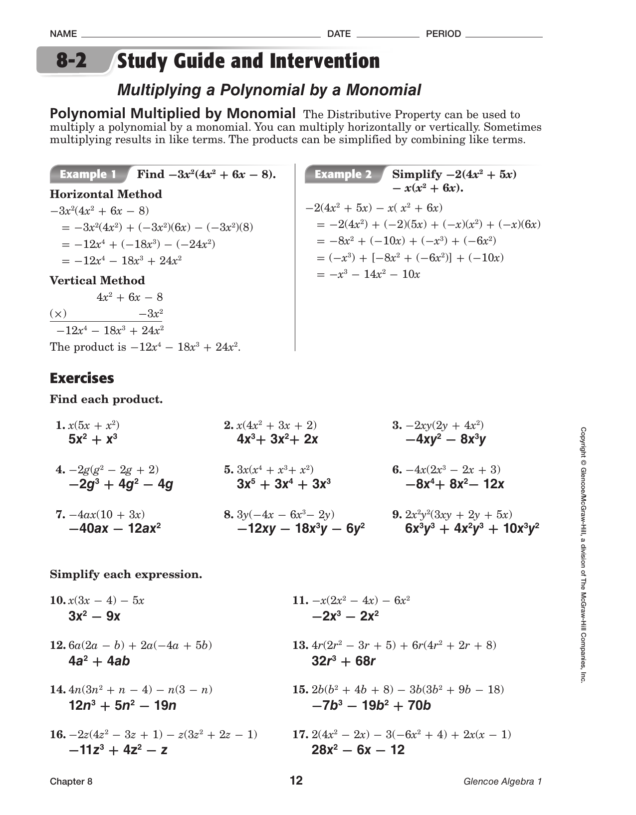 Chapter 8-2 Study Guide and Intervention ANSWERS