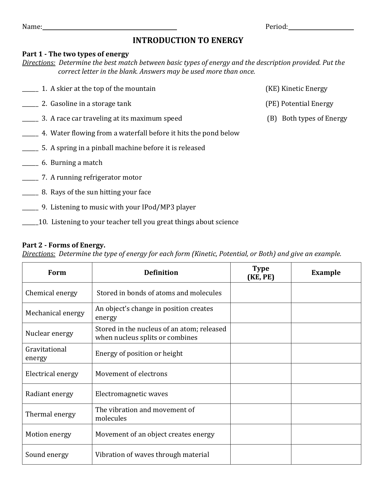 """INTRODUCTION TO ENERGY"""" WORKSHEET"""