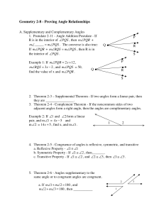 Geometry 2-8 - Proving Angle Relationships