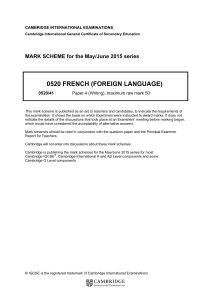 0520 FRENCH (FOREIGN LANGUAGE)