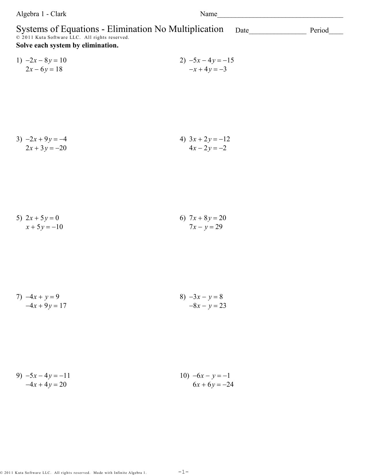 Algebra 1 - Clark - Systems of Equations