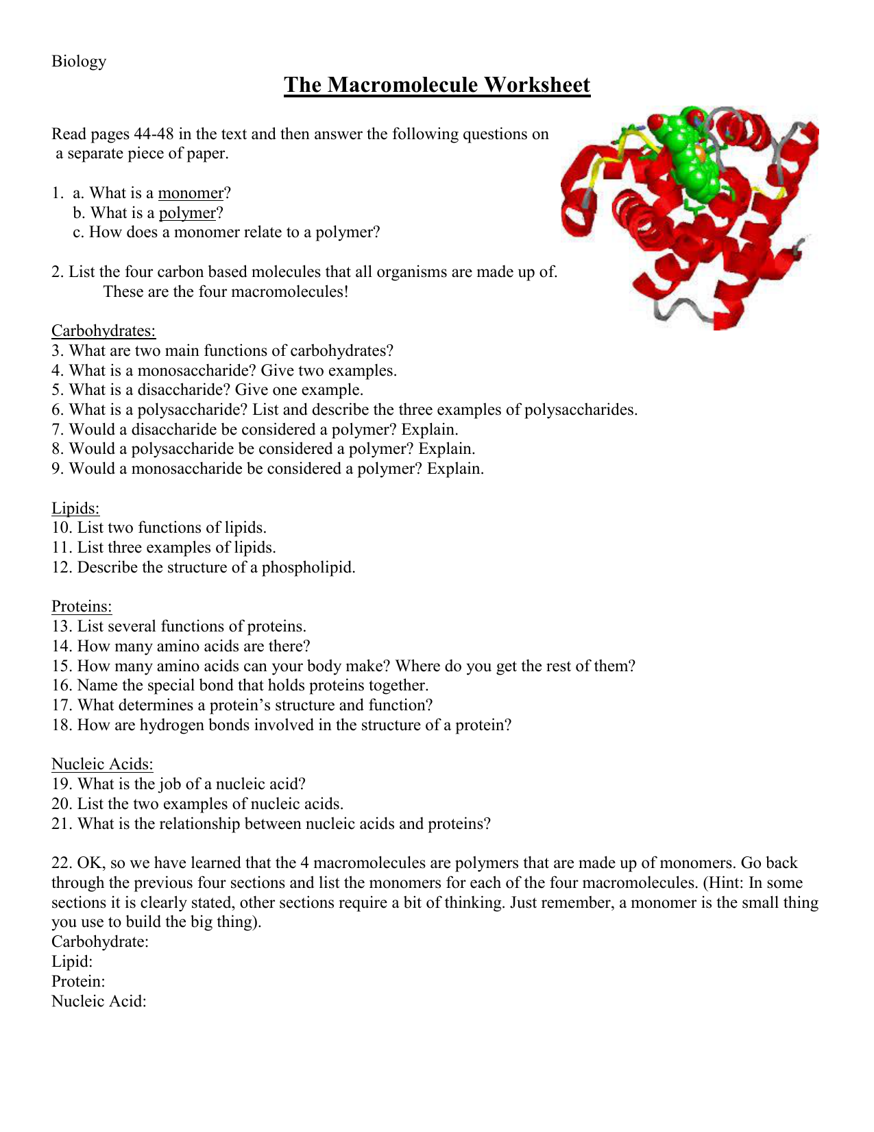 Macromolecules Concept Map Answers.The Macromolecule Worksheet