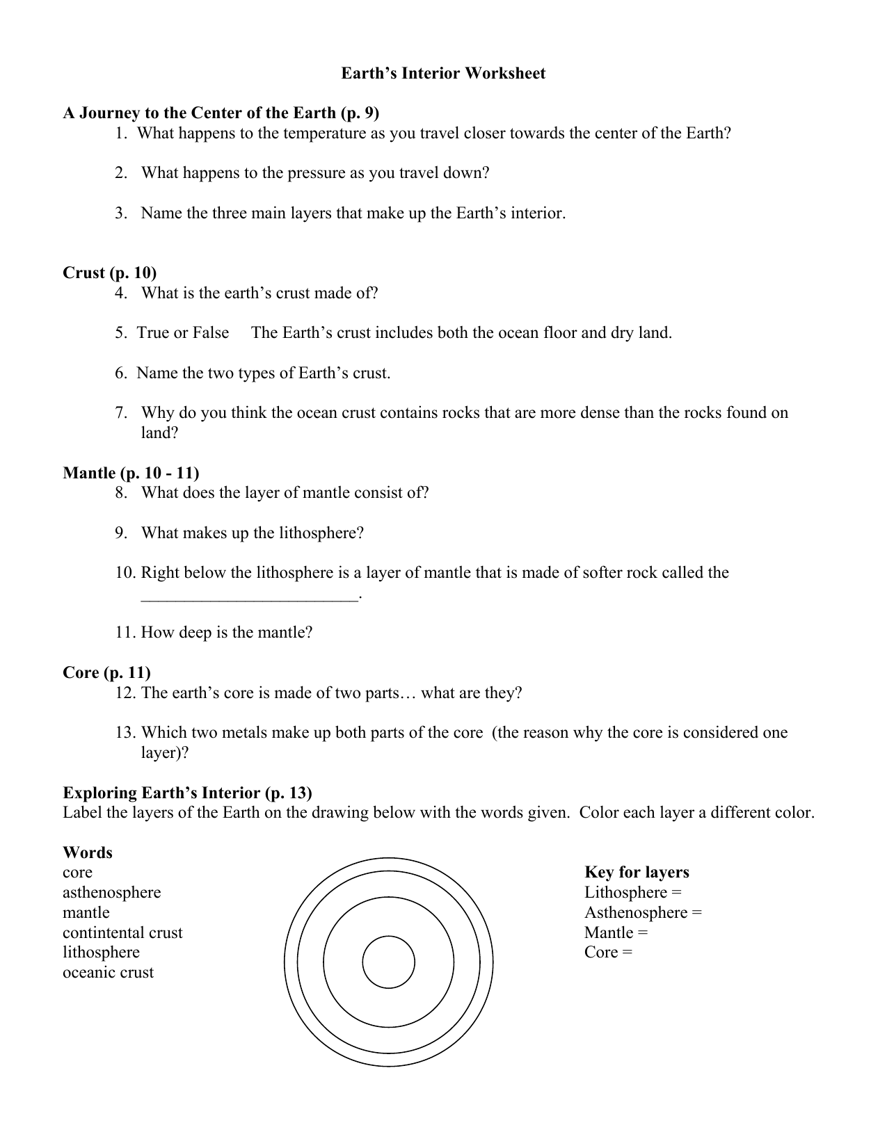 Earth S Interior Worksheet A Journey To The Center Of The Earth P 9