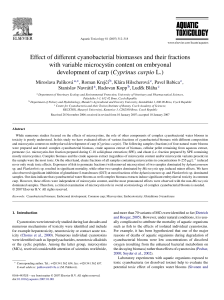 Effect of different cyanobacterial biomasses and their fractions with
