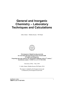 General and Inorganic Chemistry – Laboratory Techniques