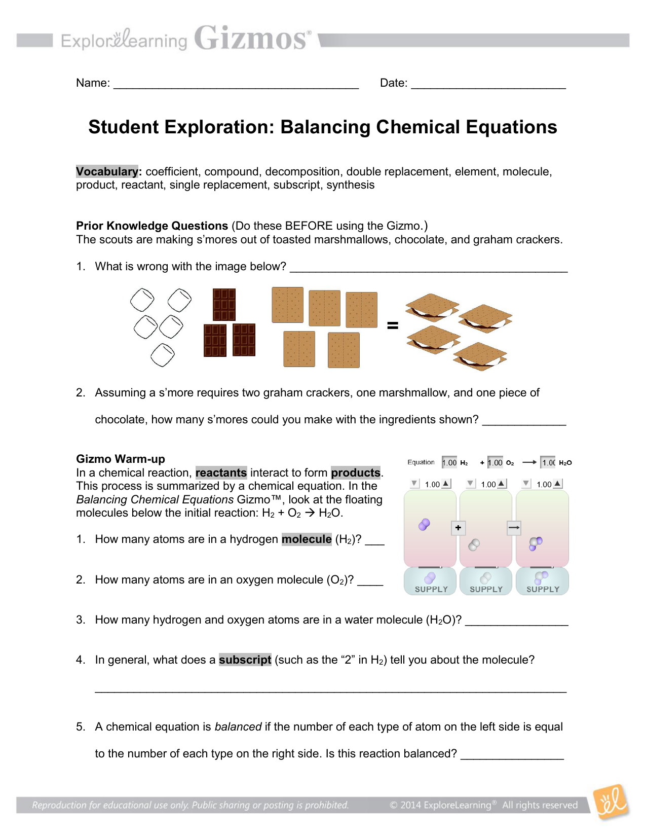 Gizmo Balancing Chemical Equations Answer Key - Tessshebaylo