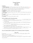 European Explorers Quiz One Study Guide