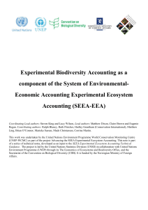 Experimental Biodiversity Accounting as a component of the