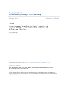 Kim`s Pairing Problem and the Viability of Substance Dualism