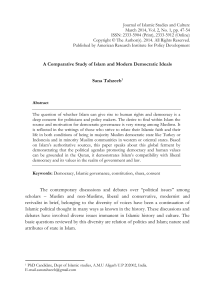 A Comparative Study of Islam and Modern Democratic Ideals Sana