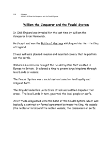 William the Conqueror and the Feudal System