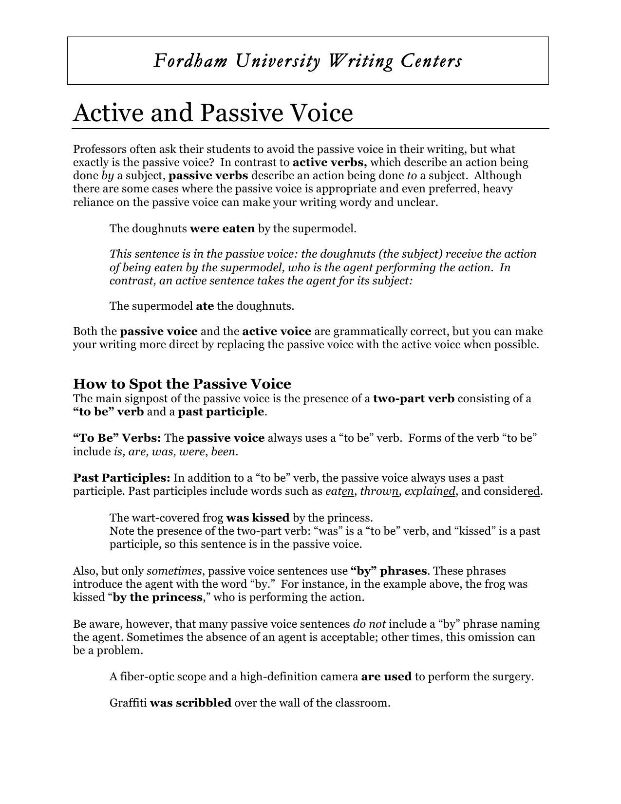active voice words