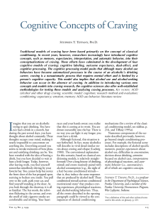Cognitive Concepts of Craving - CE