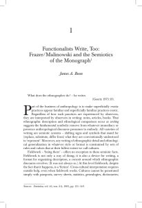 Functionalists Write, Too: Frazer/Malinowski and the