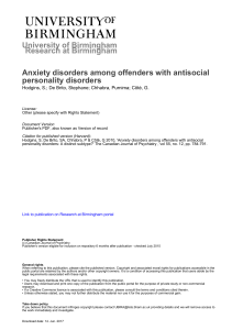 Anxiety disorders among offenders with antisocial personality
