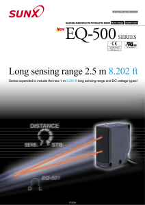 Long sensing range 2.5 m 8.202 ft