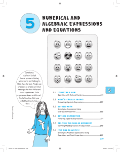 Numerical and Algebraic Expressions and Equations