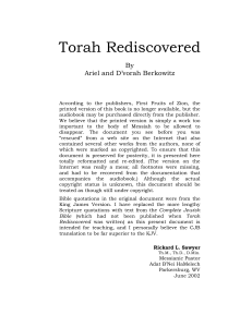 Torah Rediscovered - Hebraic Roots Teaching Institute