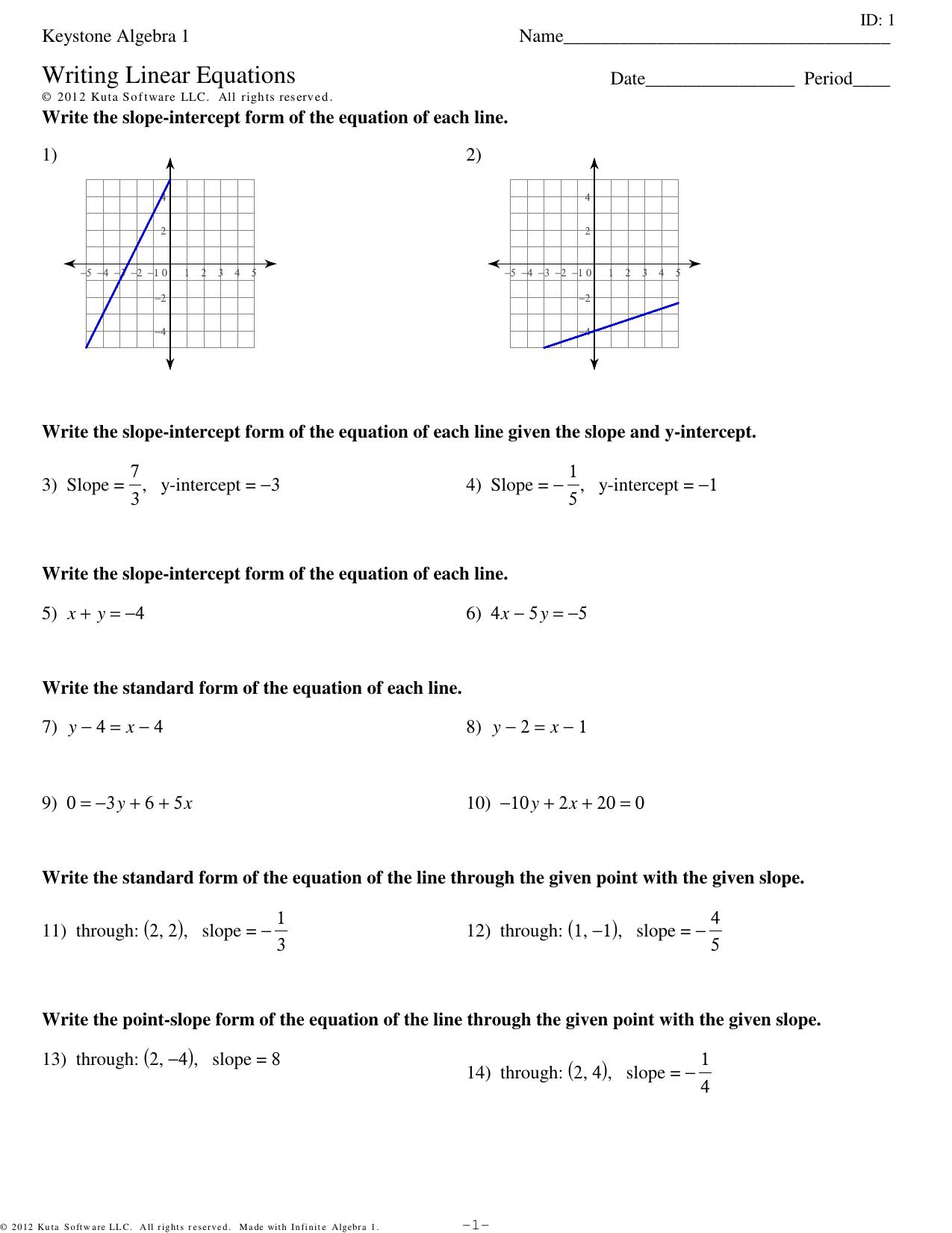 Keystone Algebra 1 Writing Linear Equations