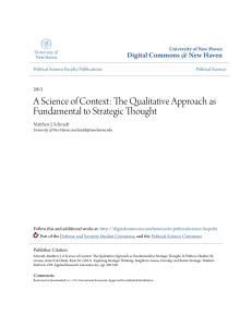 A Science of Context: The Qualitative Approach as Fundamental to