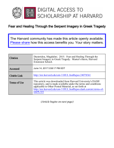 Fear and Healing Through the Serpent Imagery in Greek Tragedy
