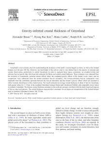 Gravity-inferred crustal thickness of Greenland