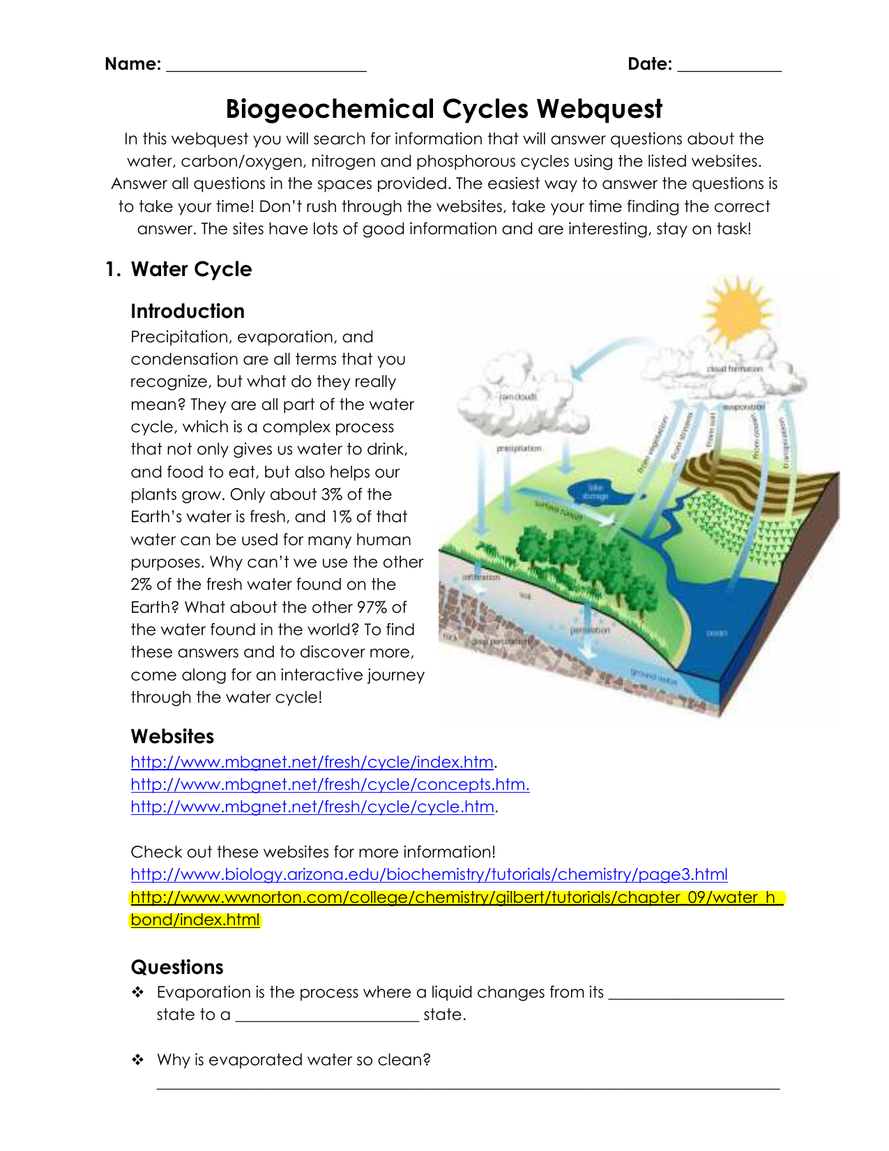 worksheet the water cycle worksheet answers grass fedjp worksheet study site. Black Bedroom Furniture Sets. Home Design Ideas