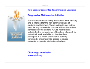 www.njctl.org New Jersey Center for Teaching and Learning