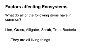 Factors affecting Ecosystems