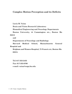 Complex Motion Perception and its Deficits