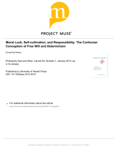 Moral Luck, Self-cultivation, and Responsibility: The Confucian