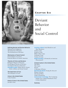 Deviant Behavior and Social Control