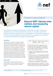 Beyond GDP: Valuing what matters and measuring natural capital