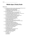 Middle Ages 2 Study Guide