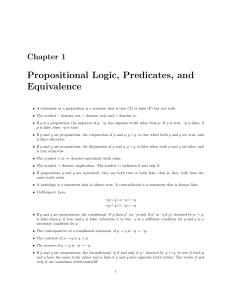 Propositional Logic, Predicates, and Equivalence