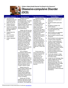 Children`s Mental Health Disorder Fact Sheet for the Classroom