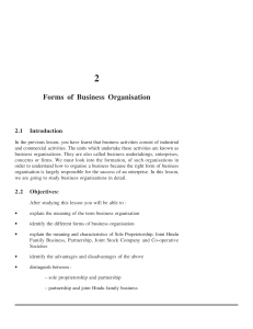 2 Forms of Business Organisation