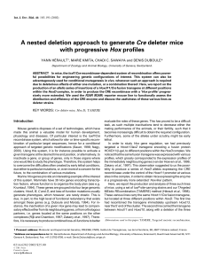 A nested deletion approach to generate Cre deleter mice with