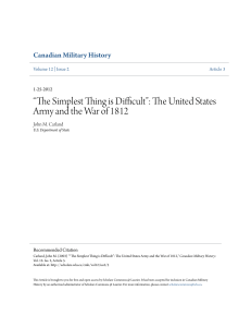 The United States Army and the War of 1812