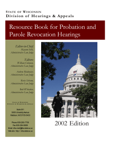 Resource Book for Probation and Parole Revocation Hearings