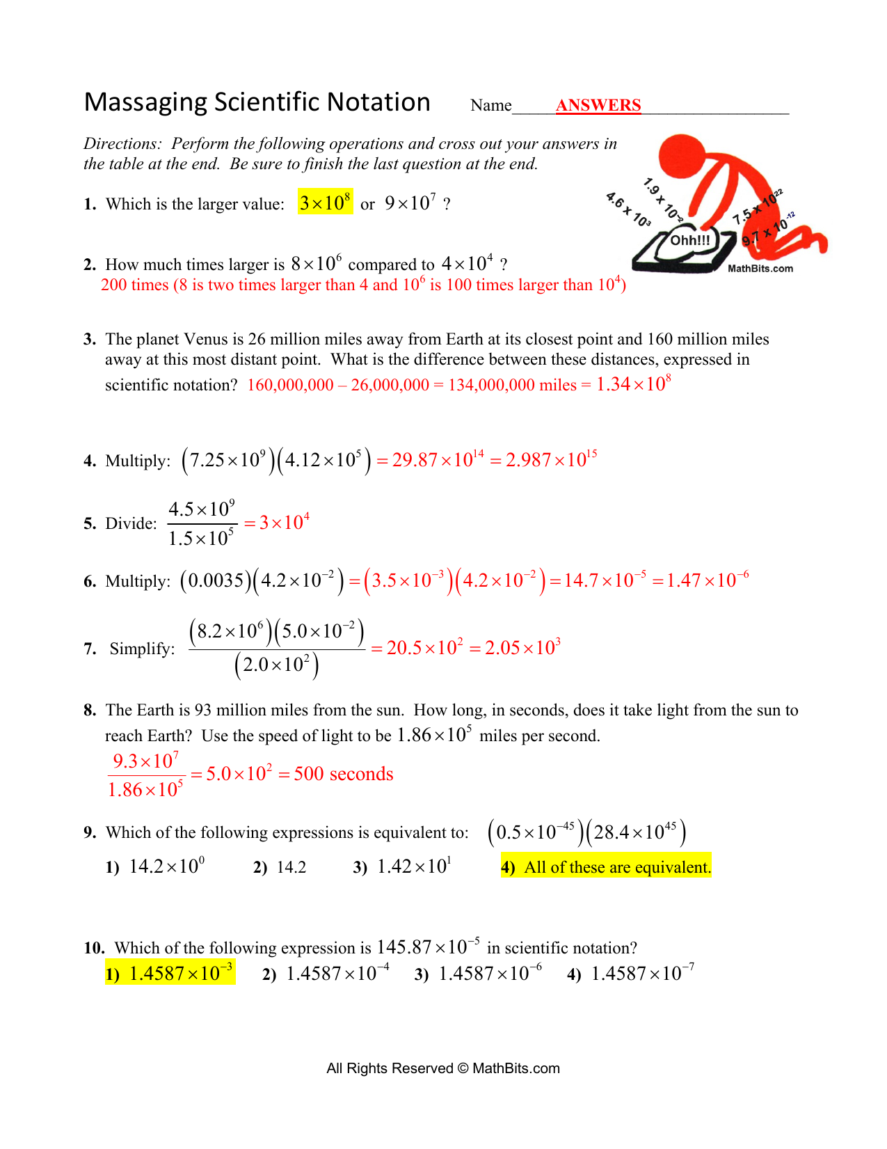 Massaging Scientific Notation ANSWERS With Scientific Notation Worksheet Answer Key