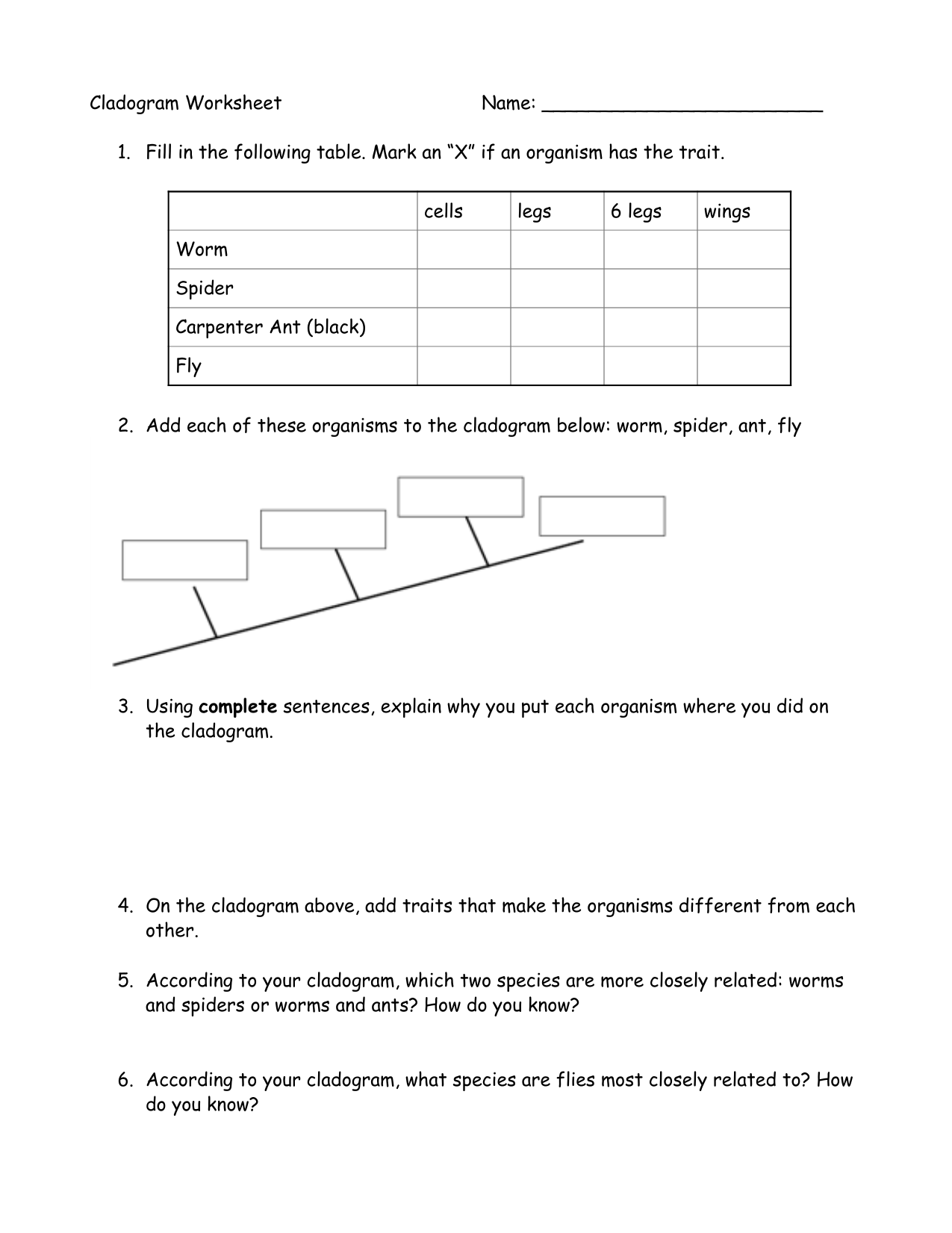Worksheets Cladogram Worksheet cladogram worksheet name 1 fill in the following table mark an