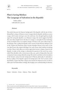Plato`s Saving Mūthos: The Language of Salvation
