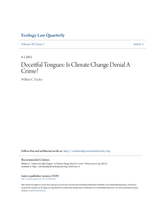 Deceitful Tongues: Is Climate Change Denial A Crime?