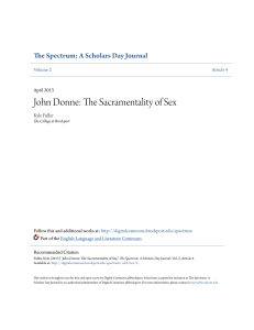 John Donne: The Sacramentality of Sex